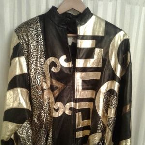 Jackets & Blazers - Black and Gold leather jacket
